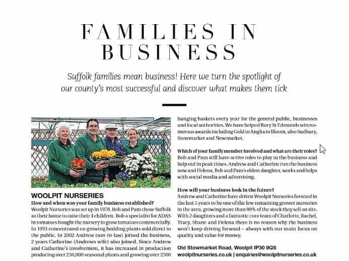 Woolpit Nurseries family business in Suffolk
