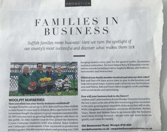 Families in business in Suffolk - Woolpit Nurseries