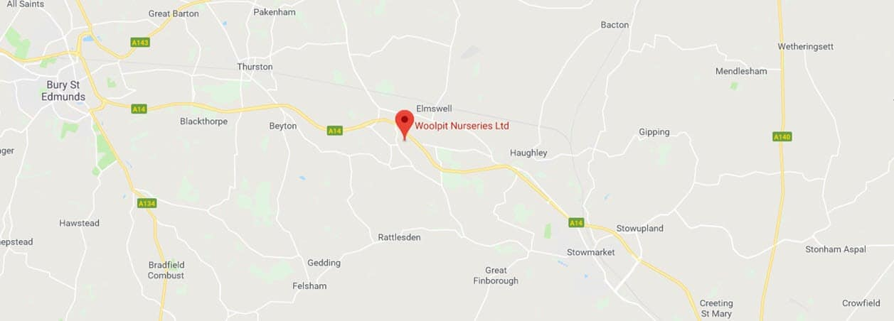Location of Woolpit Nurseries